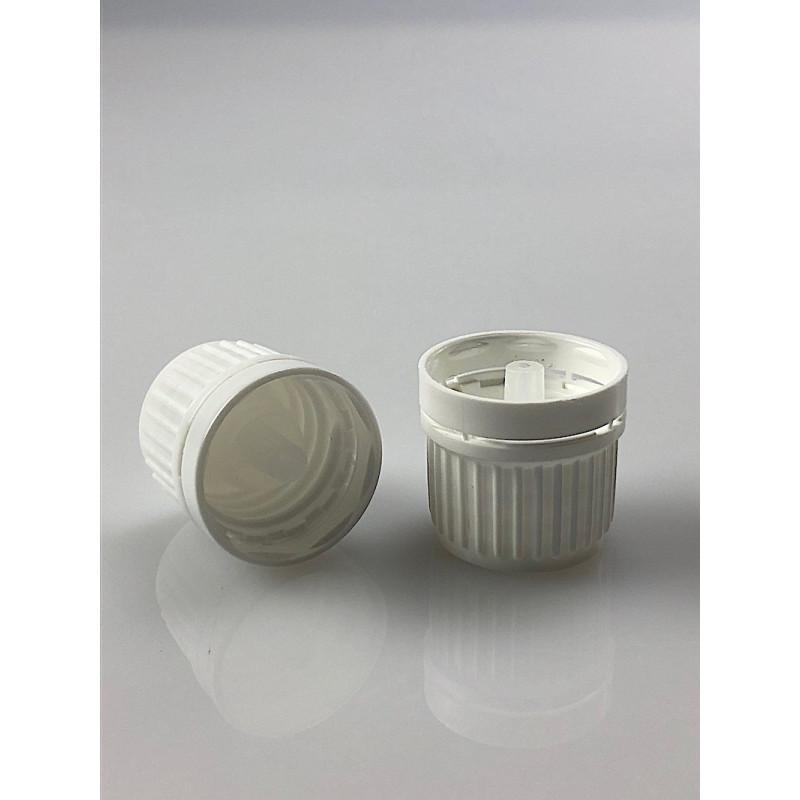 Capsule blanche inviolable Bague DIN 18 avec insert compte-gouttes aqueux