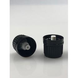 10 capsules noires à visser DIN18 + insert compte-gouttes huileux