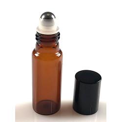 """Flacon """"roll-on"""" 10ml verre brun + capsule noire par lot de 20"""