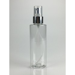 Flacon Colonna 100ml PET Cristal + Pompe spray Argent