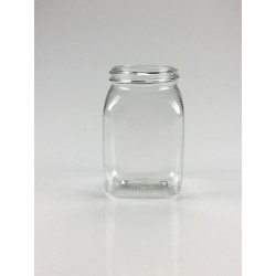 RECIPIENT CARRE 100ML PET/G CRISTAL A COL LARGE
