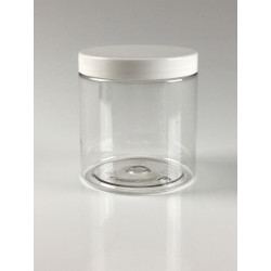 POT STRAIGHT CYLINDRICAL 250ML PET CRISTAL + COUVERCLE BLANC