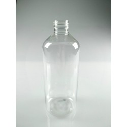 FLACON ROND 500 ML PET CRISTAL BAGUE PP28